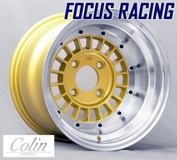 [COLIN PROJECT] 旧車ホイール フォーカスレーシング スポーク GOLD 14×10.0J 4H PCD114.3 -38 4本購入で送料無料