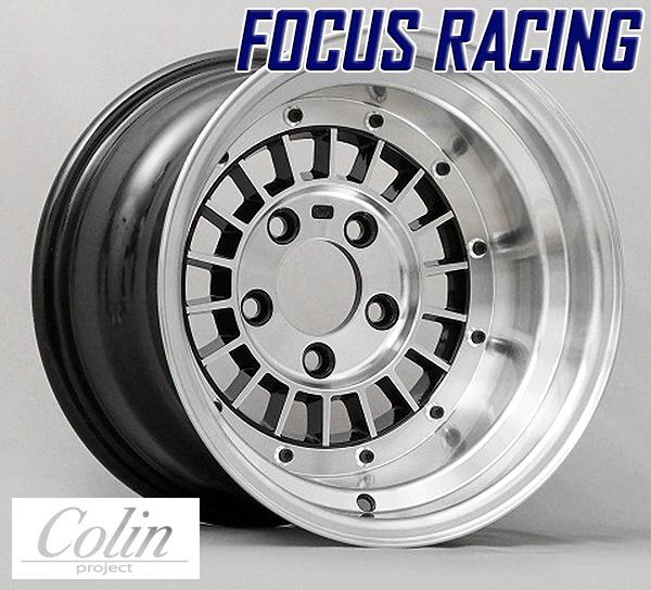 [COLIN PROJECT] 旧車ホイール フォーカスレーシング スポーク BLACK 14×9.0J 5H PCD114.3 -25 4本購入で送料無料