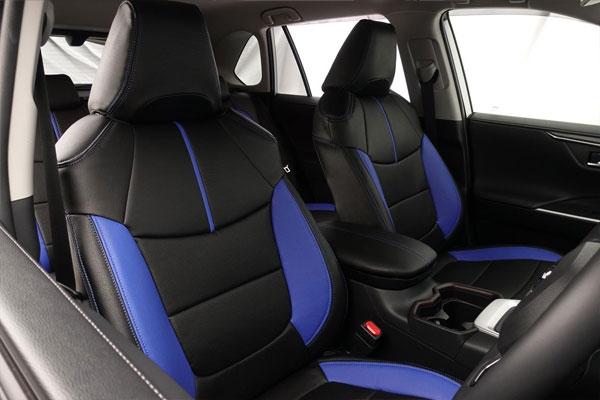 Auto wear オートウェア シートカバー RAV4 50系 専用デザイン ブラック + 青色 RAV4 AXAH52 AXAH54 2019年04月~ 5人 ハイブリッドG / ハイブリッドX