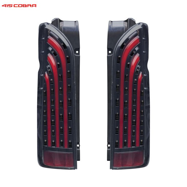 [415 COBRA] BAD TAIL LEDテールランプ インナーブラック / スモークレンズ / レッドバー 【 ハイエース 200系 1~4型 】