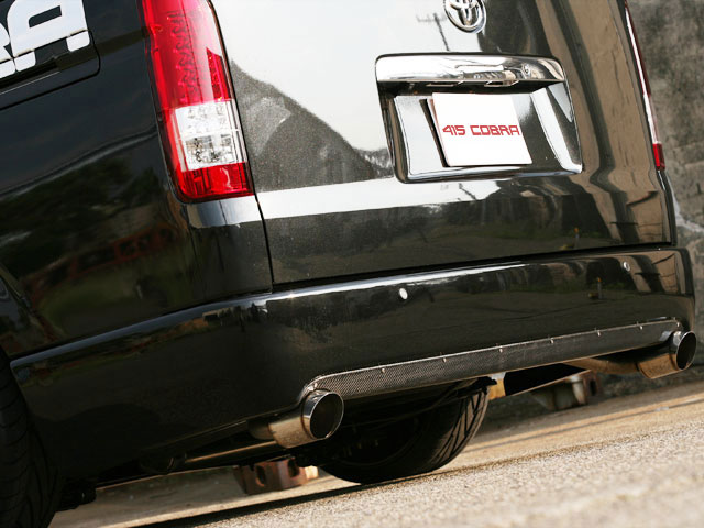 [415 COBRA] 【ワイド】 STAGE1 カーボンリアバランサー (ダブル出し) ハイエース 200系 ワイドボディ 個人宅不可 大型荷物につき特別運賃
