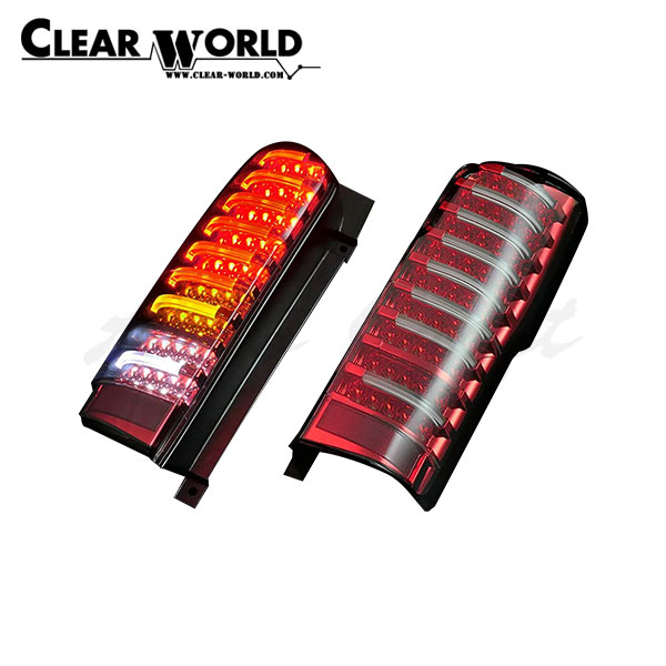クリアワールド チューブフルLEDテール シーケンシャルウインカー切替式 インナーレッドクローム/クリアレンズ NV350キャラバン E26 2012/06~