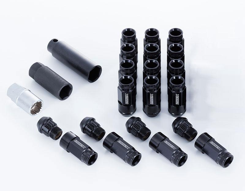 CRS ESSEX M12×P1.5 4穴用 2ピースシェルナット ローレット/ブラック 16本入