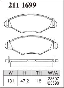 DIXCEL ディクセル ブレーキパッド Mタイプ フロント用 プジョー 206 1.4 XT/スタイル T14/T14A/T1KFW 99/5~07/03 4AT・Venti DISC車 FAB No:~8749  ※沖縄・離島・同梱時は送料別途