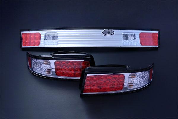 [D-MAX] LEDテールランプガーニッシュ 1台分セット (クローム) シルビア S14