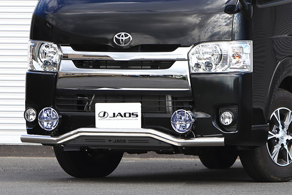 JAOS ジャオス フロントスキッドバー ポリッシュ/ブラック 標準3~4型 ハイエース 200系 10.07~ 標準ボディ(3型-4型) ※送料注意