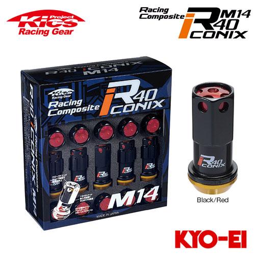 協永産業 Kics レーシングコンポジットR40 アイコニックス M14×P1.5 ブラック/レッド 20pcs (ナット16p+ロックナット4p) アルミ製キャップ