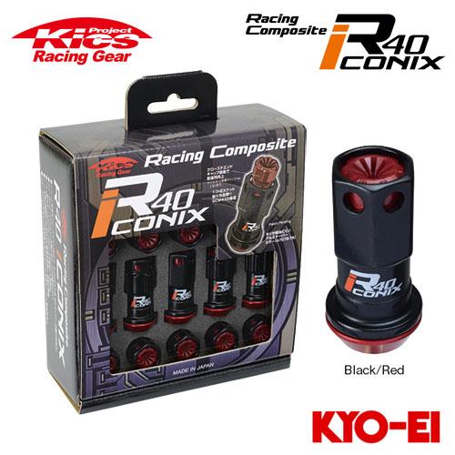 (ナット16p+ロックナット4p) M12×P1.5 協永産業 レーシングコンポジットR40 Kics ブラック/レッド 20pcs 樹脂製キャップ アイコニックス