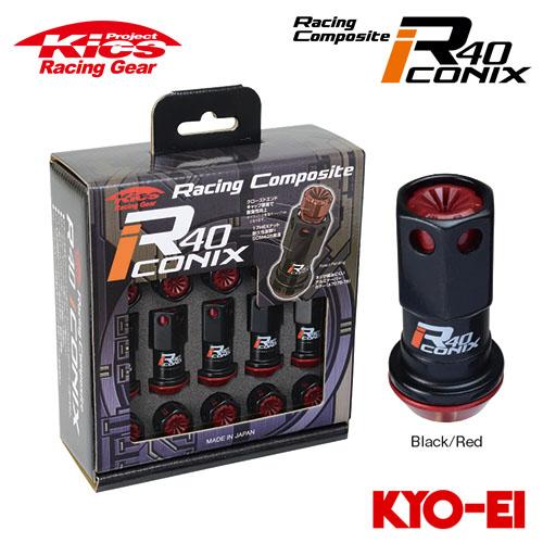 協永産業 Kics レーシングコンポジットR40 アイコニックス M12×P1.25 ブラック/レッド 20pcs (ナット20本セット) 樹脂製キャップ
