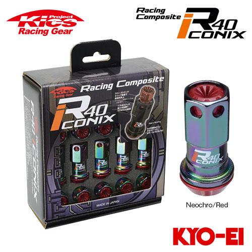 協永産業 Kics レーシングコンポジットR40 アイコニックス M12×P1.5 ネオクロ/レッド 20pcs (ナット20本セット) 樹脂製キャップ