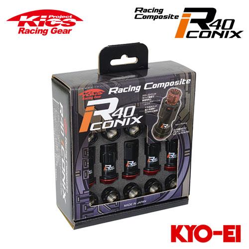 協永産業 Kics レーシングコンポジットR40 アイコニックス M12×P1.25 ブラック/レッド 20pcs (ナット16p+ロックナット4p) キャップレス