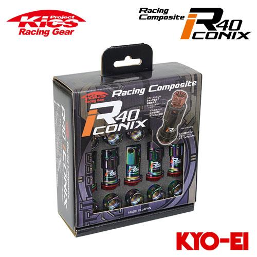 協永産業 Kics レーシングコンポジットR40 アイコニックス M12×P1.25 ネオクロ/レッド 20pcs (ナット16p+ロックナット4p) キャップレス
