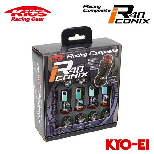 協永産業 Kics レーシングコンポジットR40 アイコニックス M12×P1.25 ネオクロ/レッド 20pcs (ナット20本セット) キャップレス