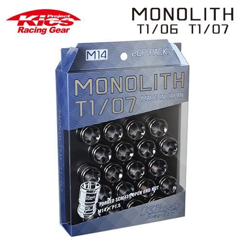 協永産業 Kics モノリス MONOLITH T1/07 M14×P1.5 グロリアスブラック 20pcs (ナット20本セット)