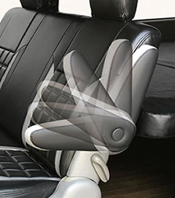 レガンス LEGANCE 200系ハイエースワイド/1・2・3・4型リアシートアームレスト 無段階タイプレザーブラック 左右セット肘置き