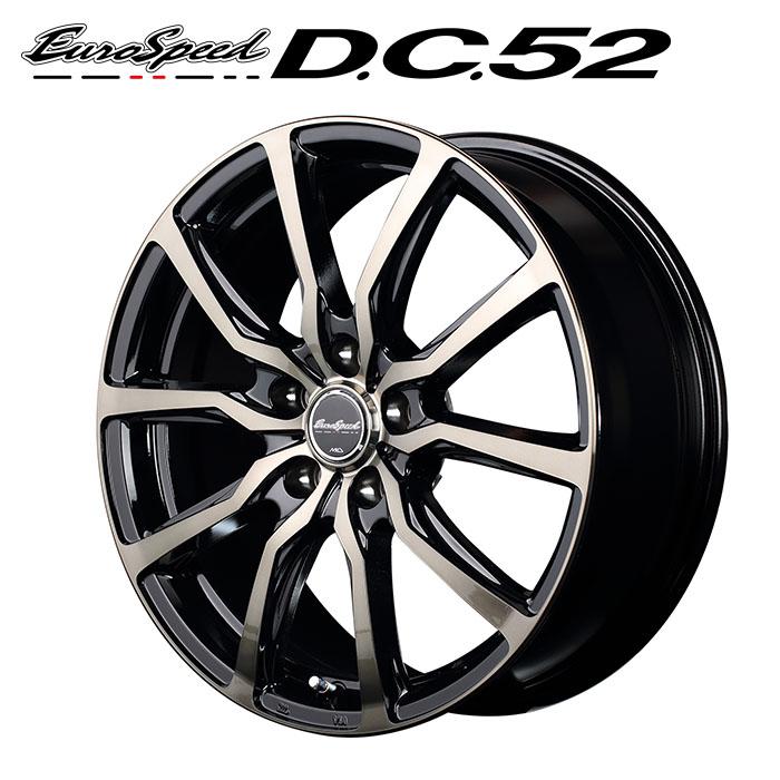 EuroSpeed D.C.52 (ブラックポリッシュ+アーミーブラッククリア) レガシィツーリングワゴン BR系 2009/5~2014/10 17×7.0J 5H PCD100 +50 4本購入で送料無料