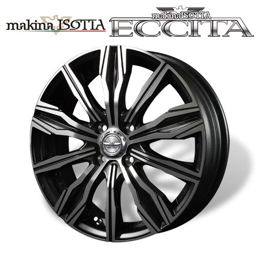 マキナイゾッタ ≪ ECCITA (エクシータ) ブラックメタリックミラーカット ≫ 16×5.0J 4H PCD100 +45 4本購入で送料無料