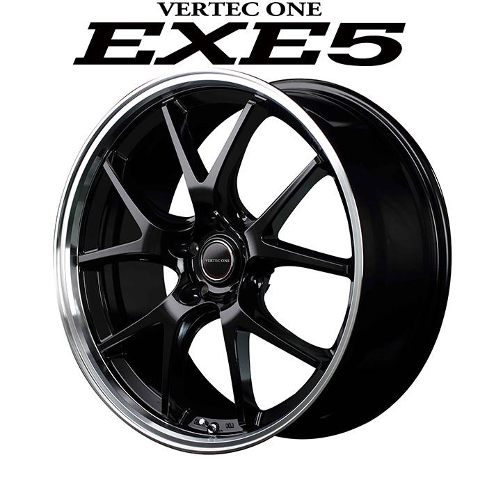 VERTEC ONE EXE5 エグゼファイブ (グロッシーブラック) 18×7.0J 5H PCD114.3 +55 4本購入で送料無料