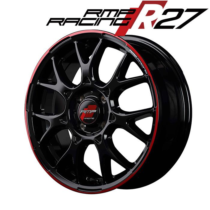 RMP RACING R27 (ブラック/リムレッドライン) 16×6.0J 4H PCD100 +43 4本購入で送料無料