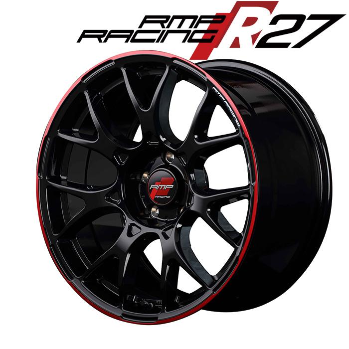 RMP RACING R27 (ブラック/リムレッドライン) 17×7.0J 5H PCD100 +48 4本購入で送料無料