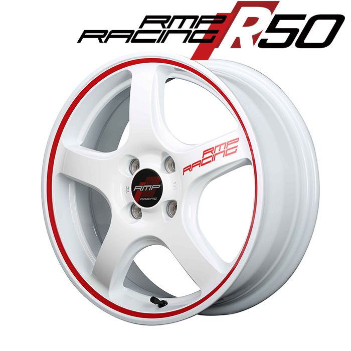 RMP RACING R50 (ホワイト/リムレッドライン) 15×5.0J 4H PCD100 +45 4本購入で送料無料