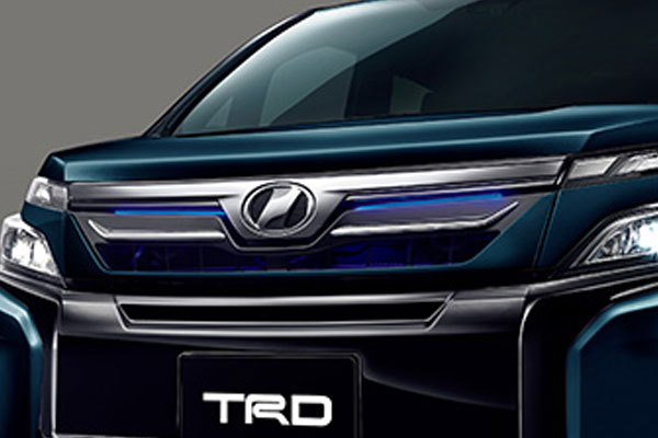 TRD フロントグリル(LED付) ブラキッシュアゲハガラスフレーク(221) ヴォクシー ZRR80G ZRR85G ZWR80G 17/07~ 除くプレミアムホーン(純正用品)付車