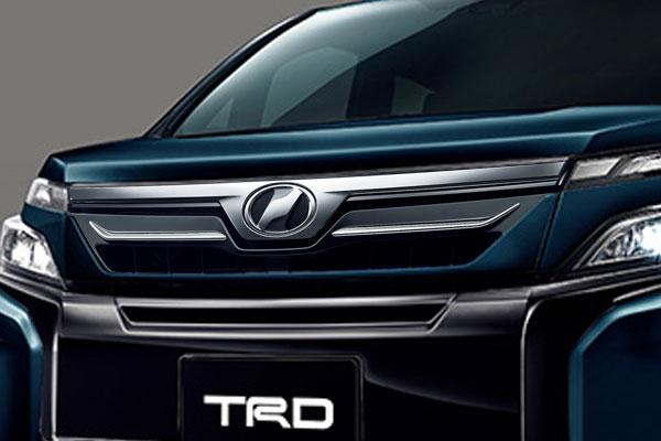 TRD フロントグリル(LEDなし) ブラキッシュアゲハガラスフレーク(221) ヴォクシー ZRR80G ZRR85G ZWR80G 17/07~ 除くプレミアムホーン(純正用品)付車