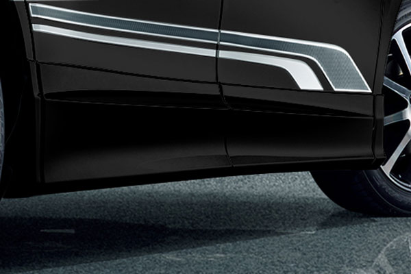 TRD サイドスカート ブラック(202) ヴォクシー ZRR80G ZRR85G ZWR80G 17/07~ 除くドアエッジプロテクター(純正用品)付車