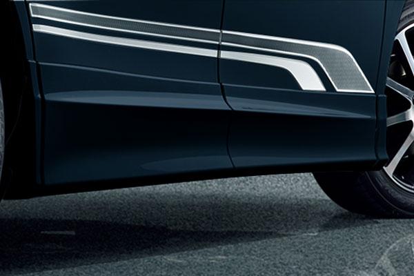 TRD サイドスカート ブラキッシュアゲハガラスフレーク(221) ヴォクシー ZRR80G ZRR85G ZWR80G 17/07~ 除くドアエッジプロテクター(純正用品)付車