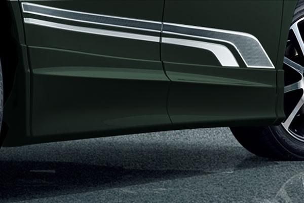 TRD サイドスカート イナズマスパーキングブラックガラスフレーク(224) ヴォクシー ZRR80G ZRR85G ZWR80G 17/07~ 除くドアエッジプロテクター(純正用品)付車