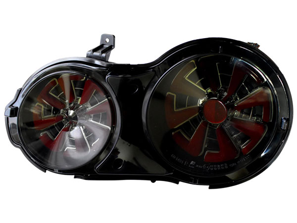R35 GT-R 流れるウインカー ファイバーLEDテールランプ スモークレッド 4灯化