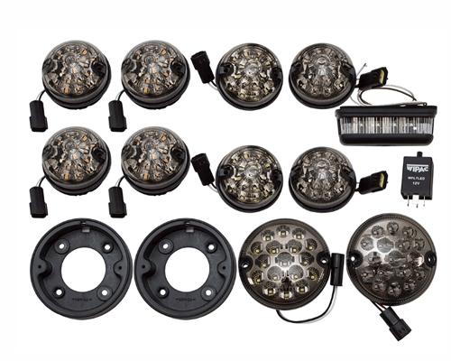 エクステリア LED ランプキット ブランド激安セール会場 UK社外WIPAC製 スモークランプ11点 春の新作続々 + リレー ウインカー+ポジション+テール リバース+フォグ DEFENDERS '07- Tdciディフェンダー レンズ直径95mm 適合車種 レンズ直径75mm