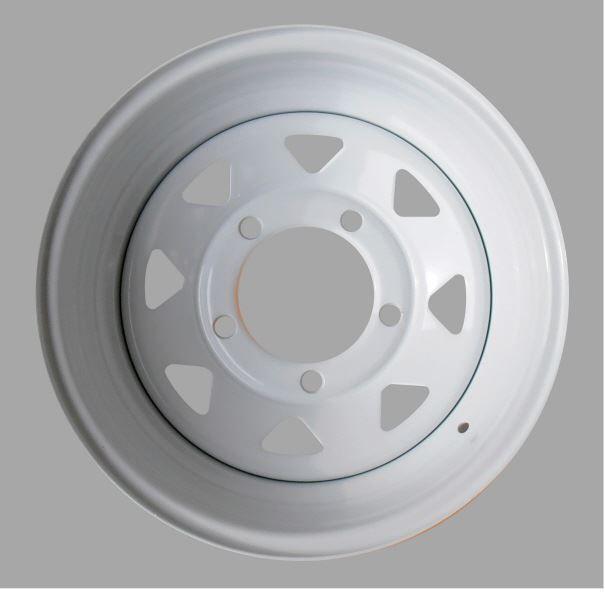 スチールホイール 1本【UK社外製】 ホワイト 白 鉄 チューブレス 7x16 steel road wheel[適合例]ディフェンダー/クラシックレンジローバー/ディスカバリー1