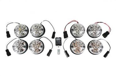 LEDランプ10点+リレーセット UK社外 人気 WIPAC製 クリアレンズ レンズ直径75mm リバース+フォグ レンズ直径95mm 新作 人気 ディフェンダー90 130 適合車種 DEFENDER 2007~ 110