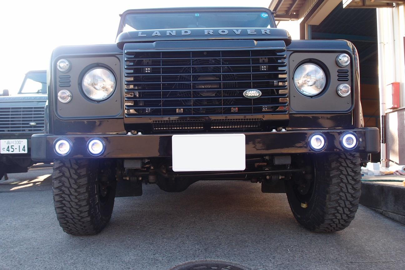 BLD フロントバンパー LED4灯フォグランプキット ピアノブラック(艶あり黒)塗装[適合車種]ディフェンダー 要バンパー穴あけ加工