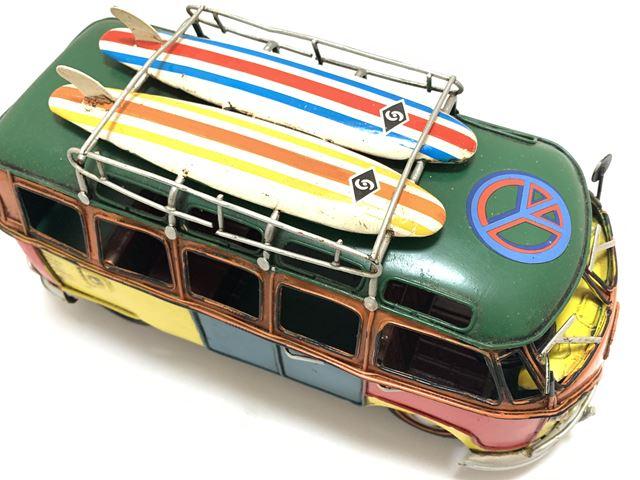 レトロ リビング 家具 車 ビンテージ アイアン 豪華な オブジェ 模型 インダストリアル アンティークカー ヴィンテージカー アメリカ ブリキ クラシックカー 全国一律送料無料 イギリス おもちゃ ワーゲン風サーフバス 置物 ハワイ サーフワゴン
