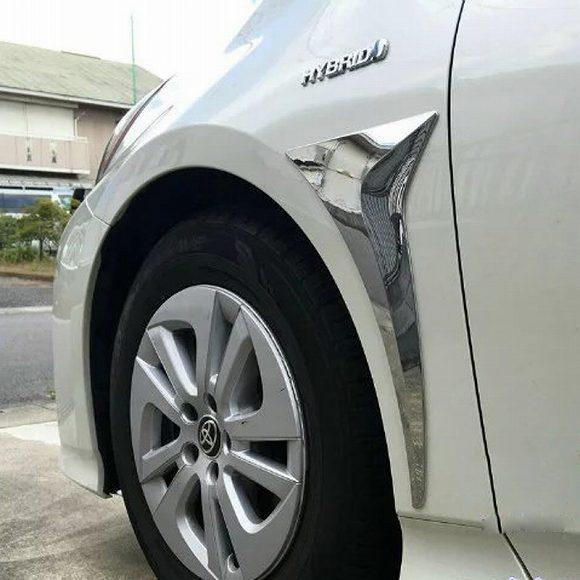 AL 車用メッキパーツ 2ピース ABS クローム カー ボディ フロント エア アウトレット デコレーション カバートリム トヨタ プリウス 2016 2017カースタイリングフレーム AL-AA-0097