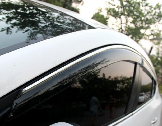 AL 車用メッキパーツ オートレインシールド&MIDDOT ウィンドウバイザー ド デフレクター サンバイザー マツダ 3 アクセラ 2014 4ピース セット AL-AA-0627