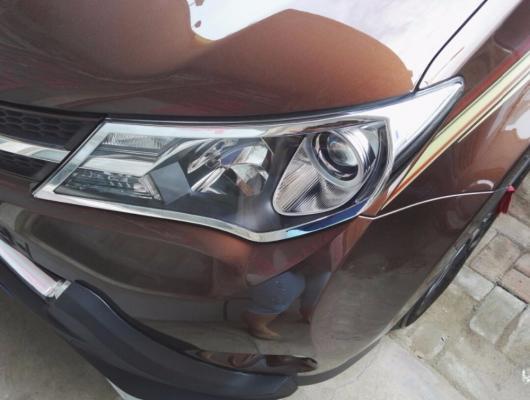 AL 車用メッキパーツ カーアクセサリー トヨタ RAV4 RAV 4 2013 2014 2015 ABS クロームメッキ外装フロントヘッドライトランプヘッドライトカバートリムシェード2ピース AL-AA-1116