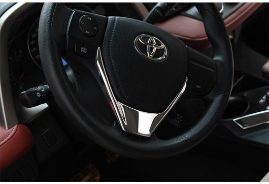 AL 車用メッキパーツ カーアクセサリー ABS クロームステアリングホイールカバーステッカー デコレーション トリムフレーム トヨタ RAV4 RAV 4 2013 2014 2015 2016 AL-AA-1118