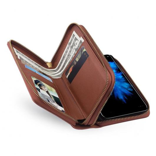 AL スマートフォンケース iPhone iPhoneX カバー 5.8 ' ケース レトロ レザー ダブルファスナー ウォレット カード バッグ マグネット バック 選べる4カラー ブラック,レッド,ピンク,ブラウン iPhoneX AL-AA-1499