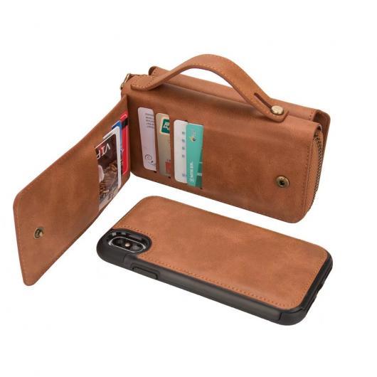 AL スマートフォンケース ラグジュアリー ハンディ マグネット セパレート ジッパーバッグ ウォレット ケース iPhone X PU + TPUレザー カバー 電話 選べる3カラー ブラック,ブラウン,ローズ AL-AA-1523
