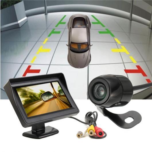 AL カー用品カメラ カーモニター4.3インチTFT液晶480 × 272 カー バックミラーモニター+防水420 TVラインCCDリアビューバックアップ パーキング カメラ AL-AA-1610