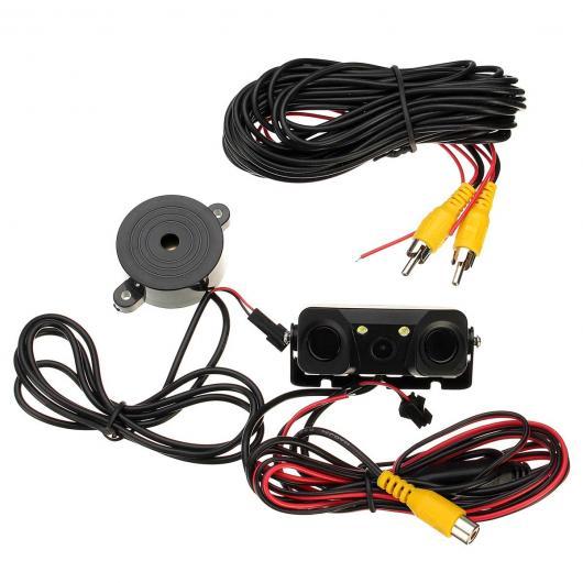 AL カー用品カメラ 3IN1 カー ビデオ パーキング カメラセンサーリアビューカメラ+センサーインジケータBIBI警報オートリバースバックアップレーダー探知 AL-AA-1666
