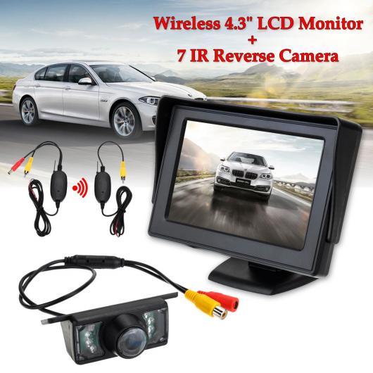 AL カー用品カメラ ワイヤレス4.3 ″TFT液晶モニター7 IR LED リバース カメラ135度 カー リアビューキット パーキング ASISITANCE AL-AA-1696
