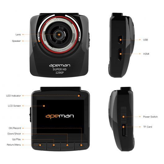 AL Ambarella A7LA50 1296 P 車載カメラ DVRフルHDオートカー ドライブ ビデオ レコーダー カメラ 2.4インチ液晶ビデオカメラ AL-AA-1746