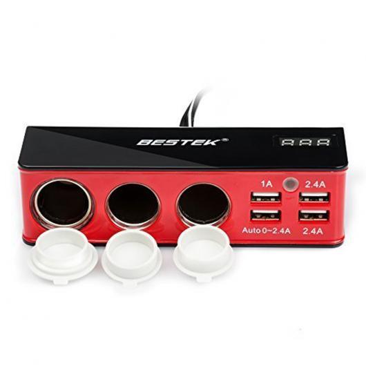 AL シガーソケットアクセサリ 3ソケットシガーライターアダプタ USBポート5.2A 4USB 充電ポート12ボルト カー シガーライターソケットアクセサリー AL-AA-1826