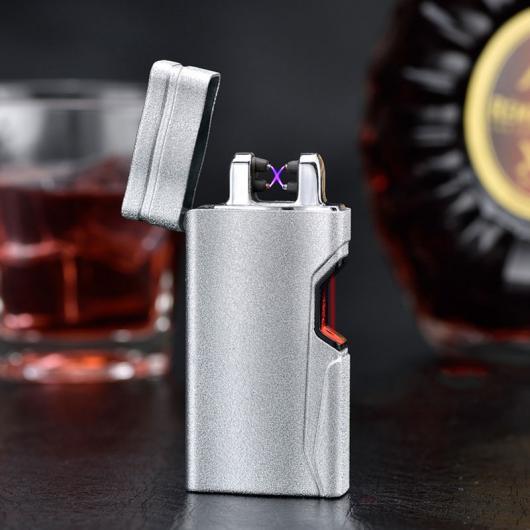 AL USBライター 電子赤外線誘導USBシガーライター デザインクロスアークパルス 防風ライター 選べる5カラー ブラック,マットシルバー,マットブラック,マットブルー,マットゴールド AL-AA-2094