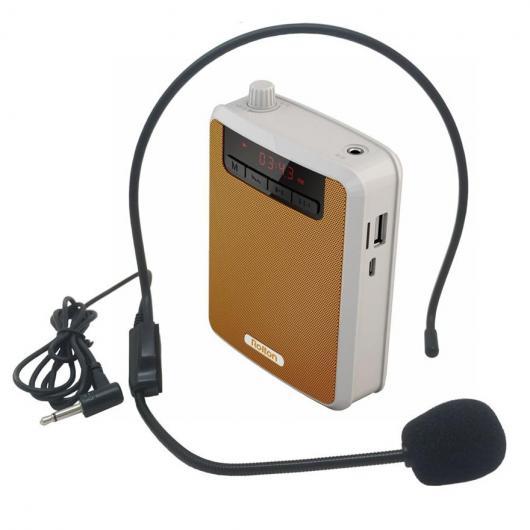 AL スピーカー メガホン ポータブル 音声 アンプ ウエストバンドクリップサポートFMラジオTF MP3 スピーカー ツアーガイド 教師 選べる4カラー ブラック,イエロー,グリーン,パープル AL-AA-2184