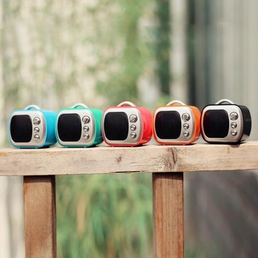 AL スピーカー テレビ形状 ワイヤレス Bluetooth スピーカー かわいい ミニ 重い低音 ステレオ マイクTFカードスロットAUXジャック 選べる5カラー ブラック,ブルー,グリーン,オレンジ,ローズレッド AL-AA-2200
